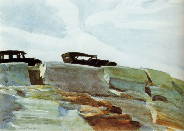 Cars and Rocks by Edward Hopper