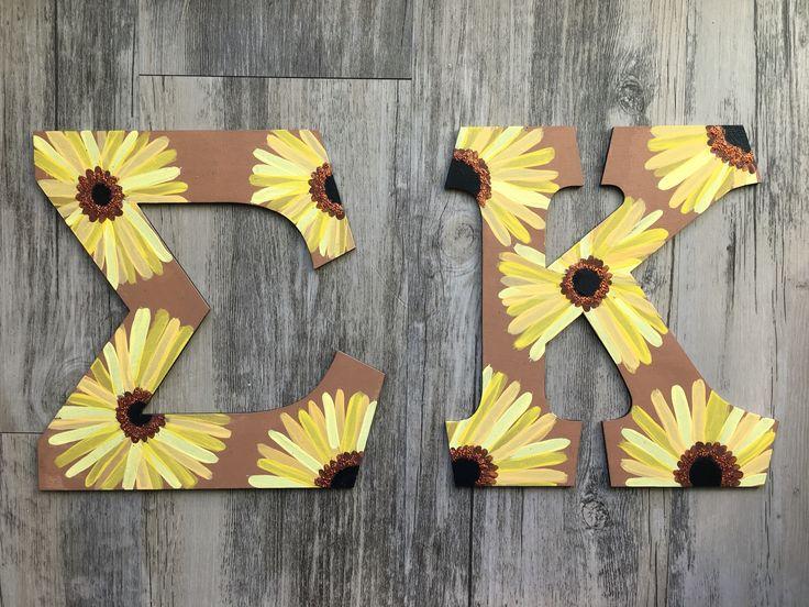 Sigma kappa letters sunflowers big little crafts sorority yellow flowers glitter