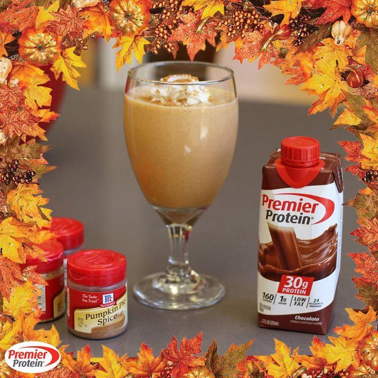 Pumpkin Pie Protein Shake Recipe  1 Premier Protein Chocolate Shake  5 Dollops of puréed pumpkin 5-8 Shakes of pumpkin pie spice, cinnamon and nutmeg, to taste 3-6 Ice cubes  Blend until smooth and enjoy!