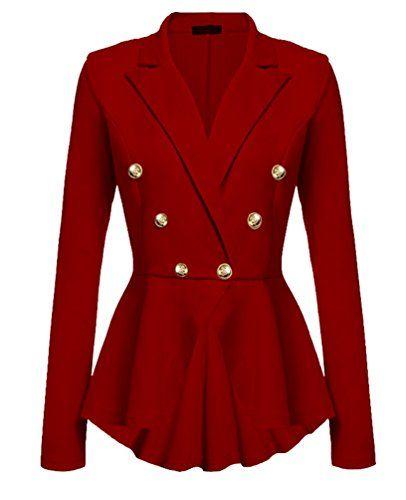 36f85e808969 YuanDian Femme Automne Causal Double Breasted Manches Longues Veste Blazer  Slim Fit Veste Tailleur Cintrée Habillée Costume Jacket Rouge M