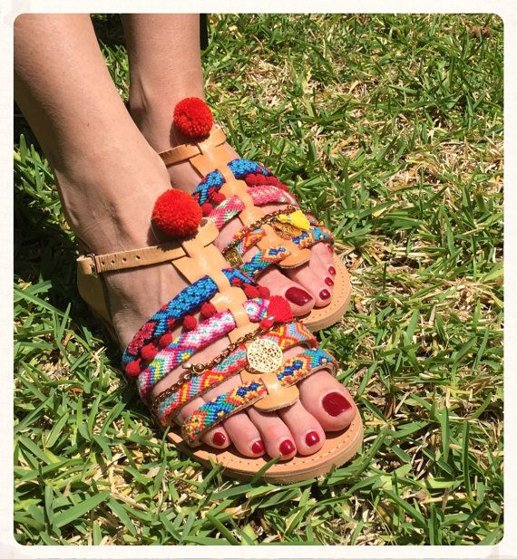 Genuine Leather Greek Sandals ''Diana'', Spartan sandals, Pom pom Sandals, Boho Style