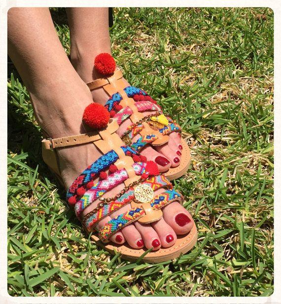 Pom Pom Sandals''Diana'' Spartan sandals made
