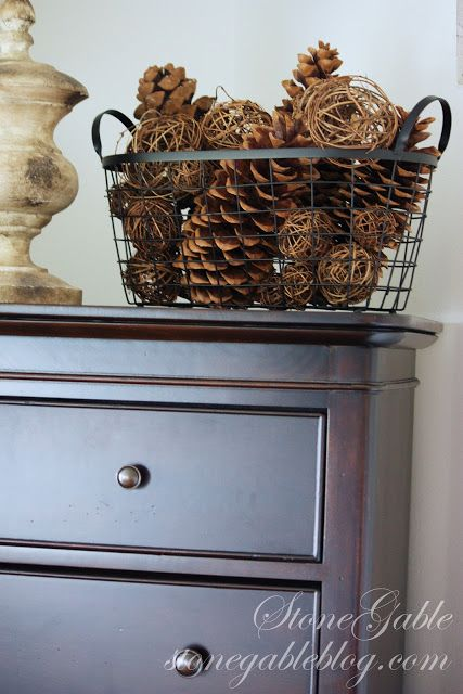 Wire baskets for pine cones