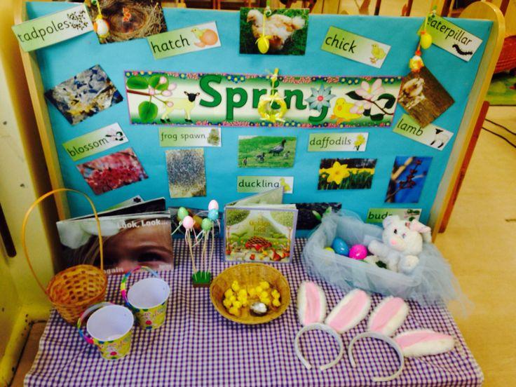 Easter/Spring interest table #eyfs #nursery