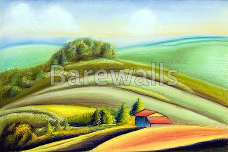 """Country landscape"" - Landscape Illustration posters and prints available at Barewalls.com"