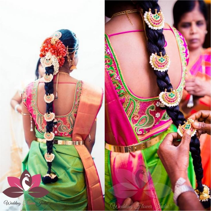 South Indian bride. Temple jewelry. Jhumkis.Green silk kanchipuram sari with contrast pink blouse.Braid with fresh flowers. Tamil bride. Telugu bride. Kannada bride. Hindu bride. Malayalee bride