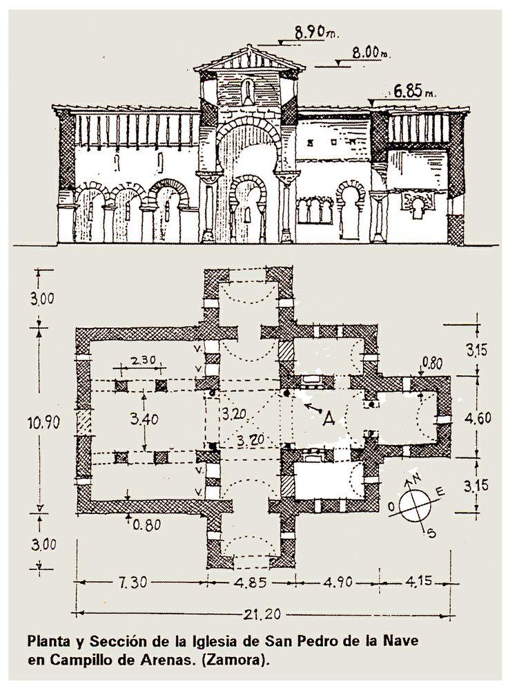 Planta y Sección de la Iglesia de San Pedro de la Nave, Campillo de Arenas (Zamora) -Tradición Visigoda. -19 b)