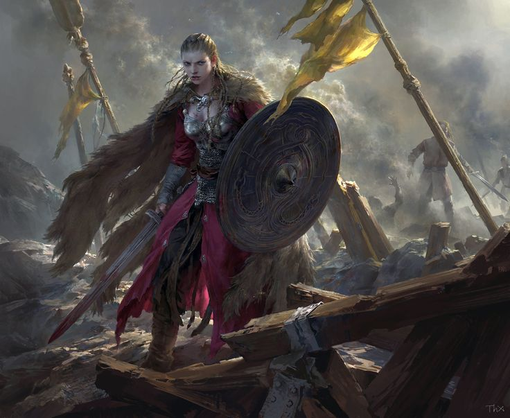 Brynhildr, Tianhua Xu  Female Viking style warrior on the battlefield what a great piece of complete art love this painting