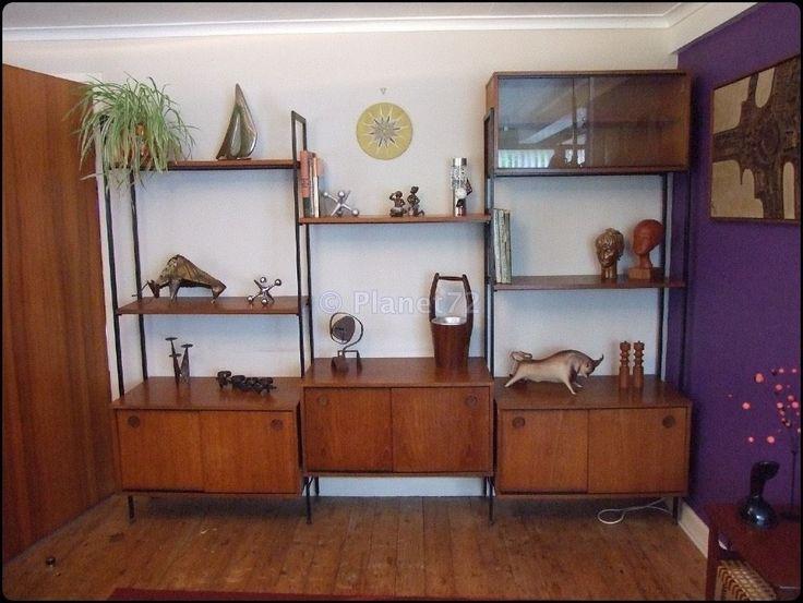 Retro vtg 60s 70s avalon modular 3 bay wall unit room divider teak shelves teak shelves and retro for Classic wall units living room