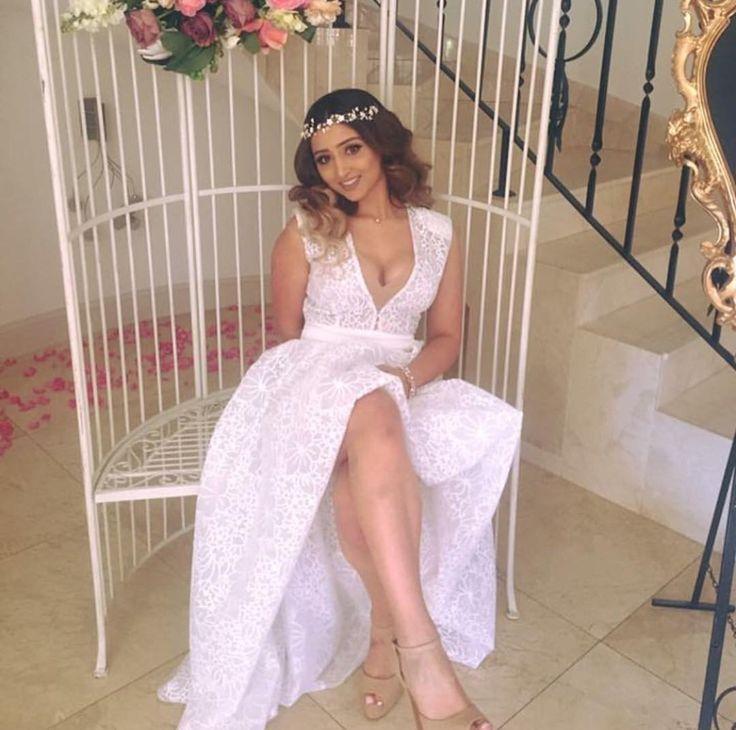 Stunning Samantha wearing Lillian Gown fir her special event Kitchen Tea Party