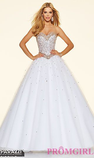 Long Corset Back Ball Gown Style Mori Lee Prom Dress at PromGirl.com