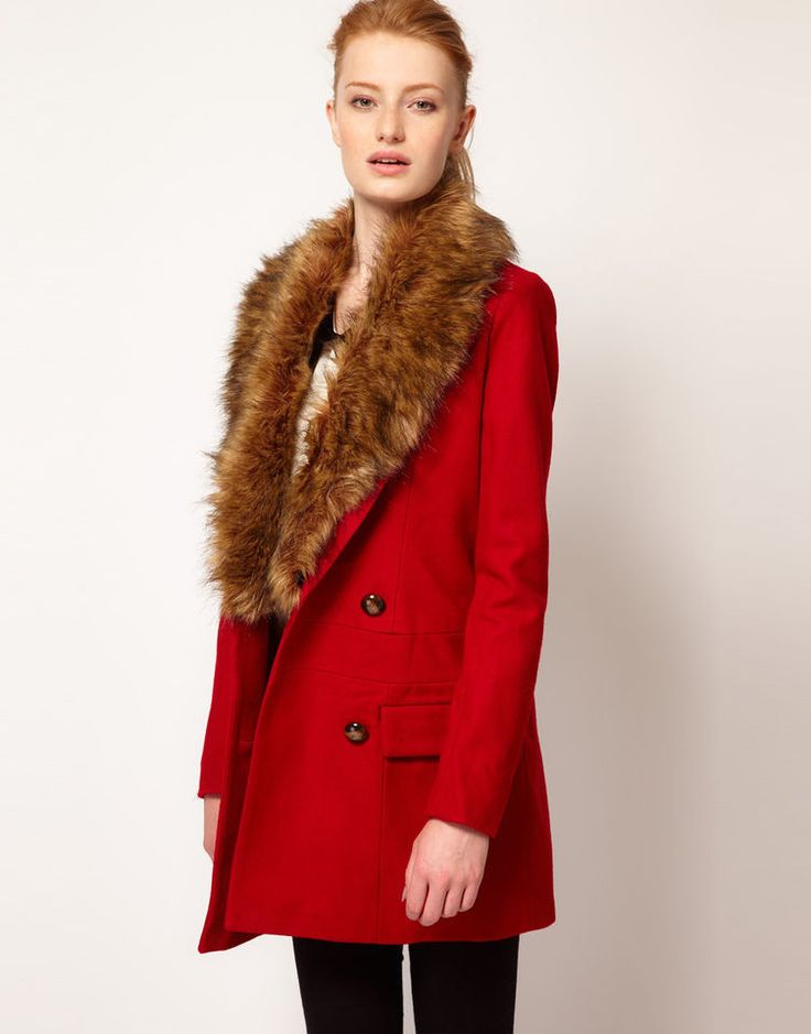 VERO MODA Faux Fur Lapel Double Breasted Coat Red XS RRP £95 ee100.