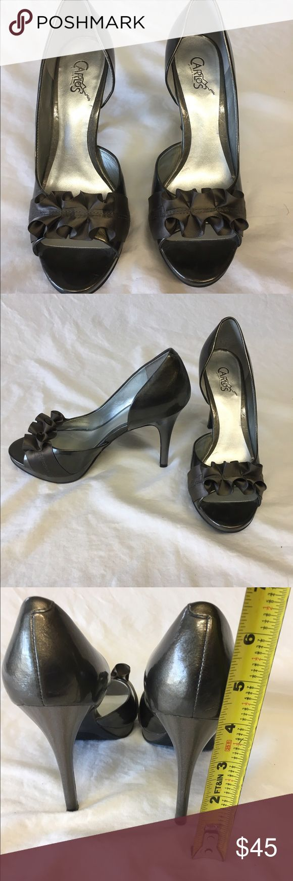 Carlos heels - Grey with open toe ruffle Stunning heels are great with business dress or going out - just a beautiful pair of grey heels Carlos Santana Shoes Heels