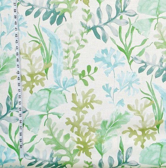 Ocean fabric coral blue aqua green sea glass watercolor garden from Brick House Fabric: Novelty Fabric