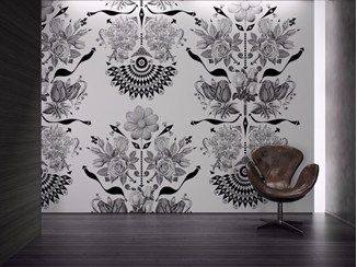Beautiful Washable Vinyl Wallpaper With Floral Pattern FLOWERS   GLAMORA