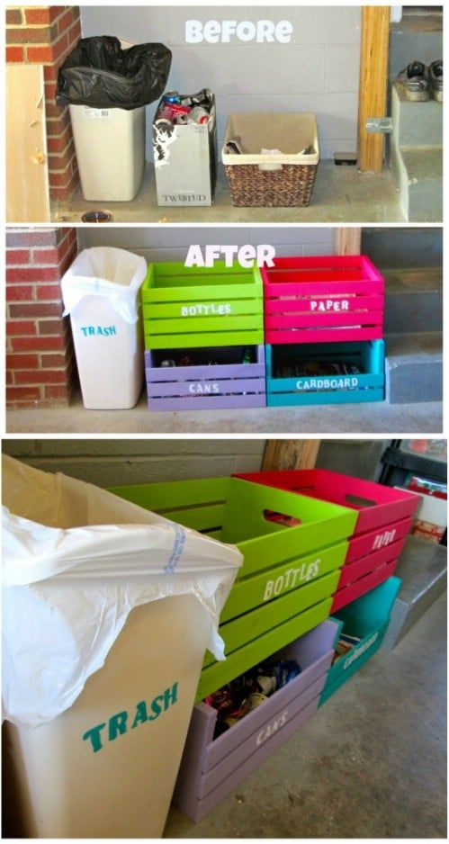 Repurposed Holzkiste Recycling-Mülleimer – 20 DIY Home Recycling-Mülleimer, die …   – Organization of stuff