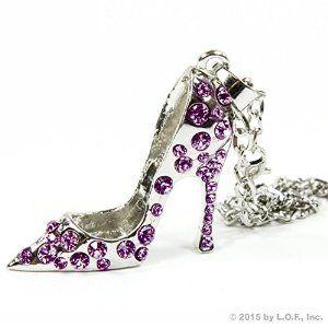Silver Bling High Heel Shoe Mirror Car Charm Hanger Ornament Purple Rhinestones w Chain