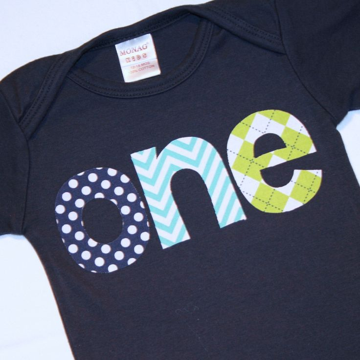 Boys ONE Shirt for First Birthday - 12-18 month long sleeve navy blue tshirt with aqua chevron lime green navy blue polkaot lettering by ThePolkaDotTotSpot on Etsy
