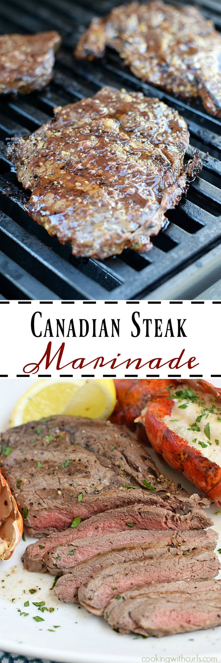 This Canadian Steak Marinade only has four ingredients, but it adds tons of flavor to your grilled steaks | cookingwithcurls.com