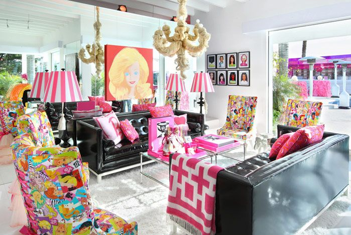 Malibu Barbie Dream House decorated for 50th Anniv. Party