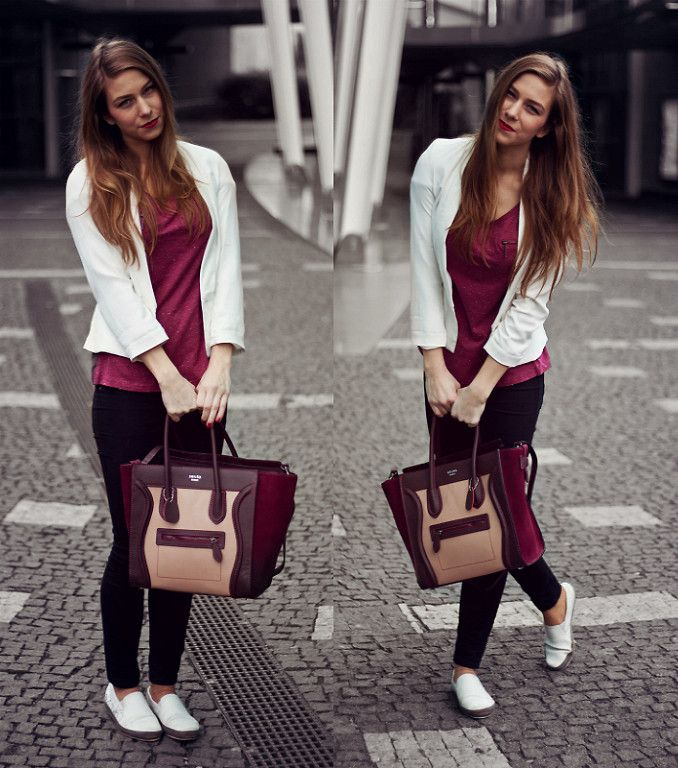 Wine Red & White outfit, wearing Céline handbag