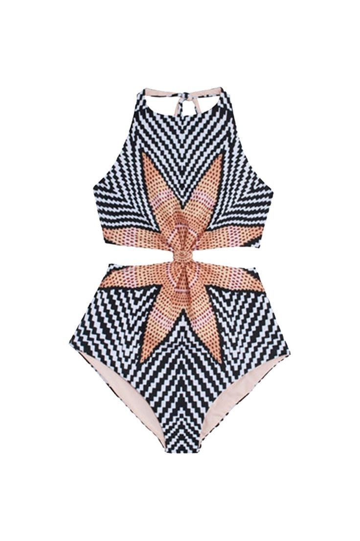 Lounge by the pool in a knotted print one-piece by Mara Hoffman.
