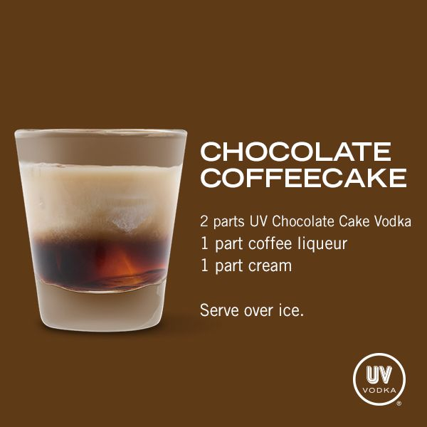 UV Vodka Recipe: Chocolate Coffeecake 2 parts UV Choc cake, 1 part coffee liqueur, 1 part cream.