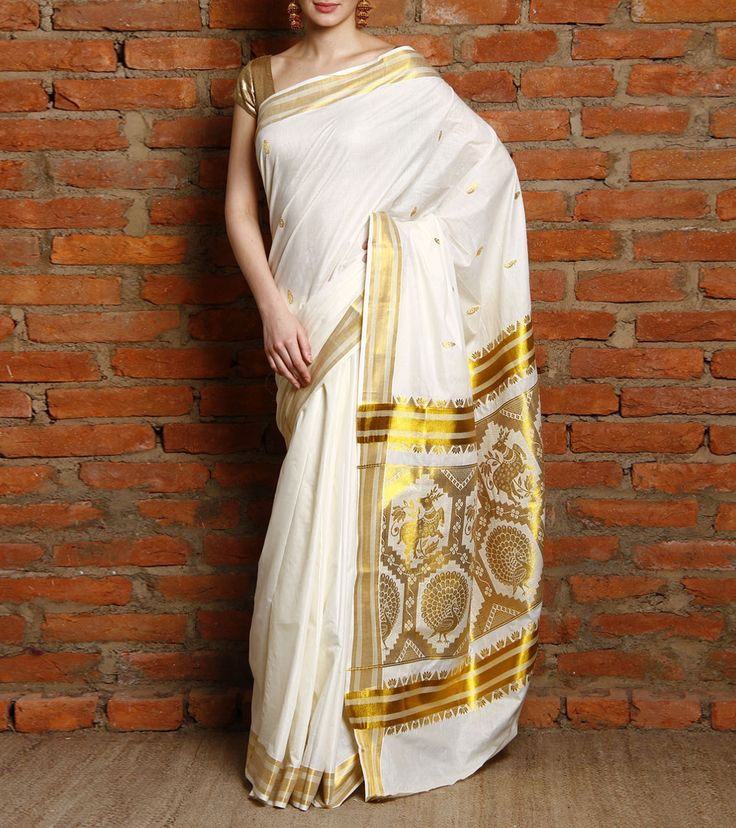 Off White Kerala Saree with Golden Kasavu Zari Work #indianroots #ethnicwear #saree #keralasaree #zariwork #occasionwear #eveningwear