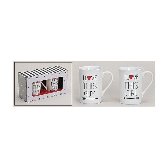 Cadeausetje mokken voor hem en haar  Tweedelig mokken setje voor hem en haar. Samen een kopje koffie of thee drinken uit een mok vol liefde. Ultiem cadeau voor vriend of vriendin. Afmeting ongeveer: 10 cm.  EUR 9.95  Meer informatie