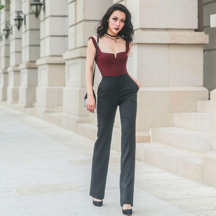 Essential Wide leg Jumpsuits Women Wine Red Stripes Low Cut Patchwork Color Slim High Rise