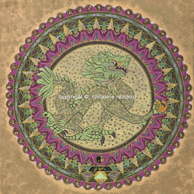 Dragon Energy:  The Sacred Geometry and the energies channelled in this Mandala hold powerful healing and transformational codes. They will unlock cellular memories held deep within the self. This allows for the activation of unrecognized hidden gifts and the release of any blockages, that would prevent these from being embraced and realized.