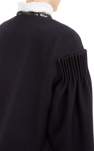 Cartridge Pleats - black coat with pleated sleeve detail; sewing inspiration…