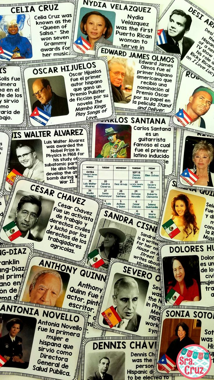 Hispanic Heritage Month: Notable Hispanic American of the Day  Includes: -Clickable calendar for with a Notable Hispanic American for each school day of Hispanic Heritage Month (September 15 - October 15) -The page for each person includes their name, photo, Hispanic country of origin, what they are known for, and a link to a short video clip about them -Includes 23 notable Hispanic Americans -English and Spanish versions for different levels