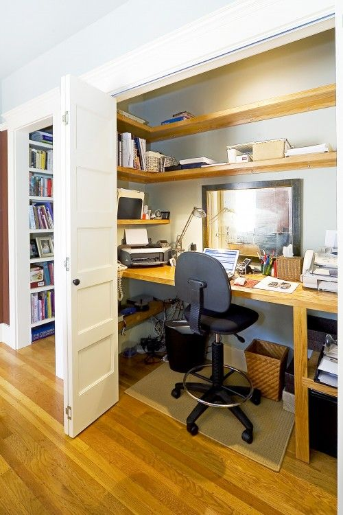 Dining room closet becomes an office.  Nice.  I like the floors, the built in shelf in the background, and all the shelving in the closet.
