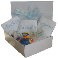 Personalised baby bath pack baby gift hamper.