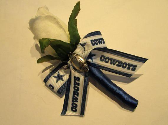 Fútbol de Dallas Cowboys Real Touch rosa ramo boda ramillete