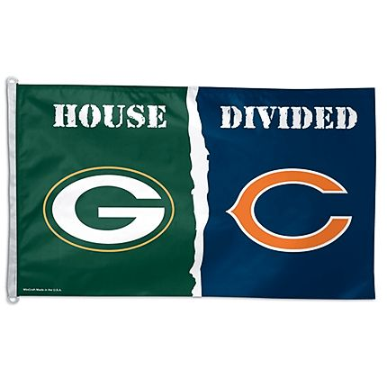 "Chicago Bears and Green Bay Packers ""House Divided"" 3' x 5' Banner Flag by Wincraft #ChicagoBears #Bears #Packers #PackersVsBears #GreenBay #GreenBayPackers"