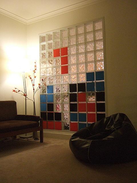 17 best interior images on pinterest glass blocks wall - Glass block windows in living room ...