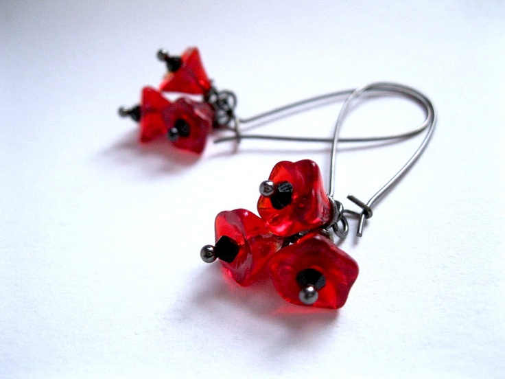 Remembrance Day Poppy Earrings Everyday Red by feralstrumpet