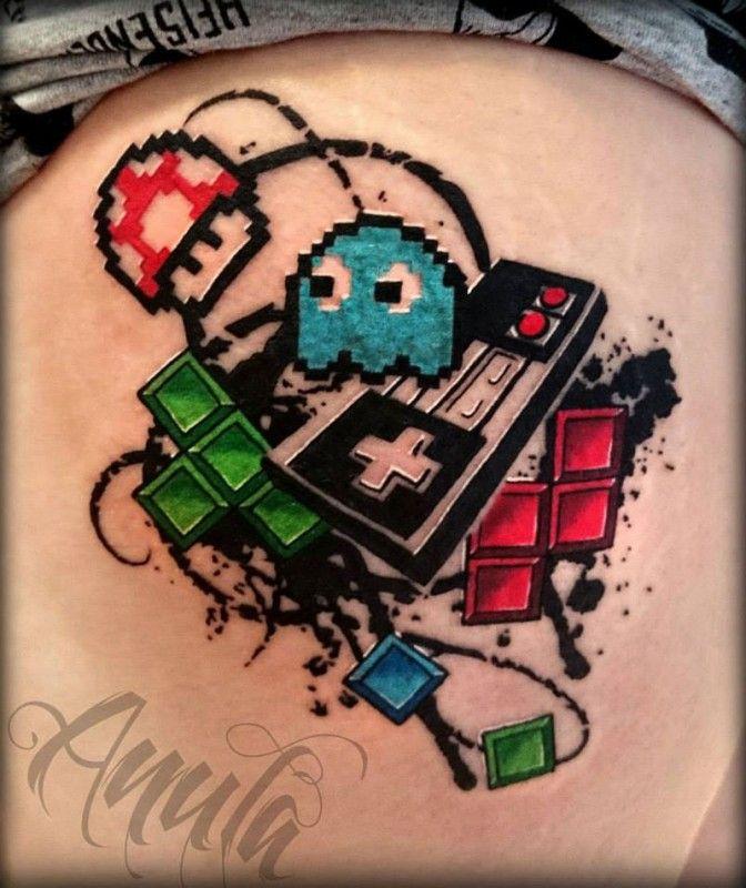 Nerdy tattoos!! Love it!!                                                       …