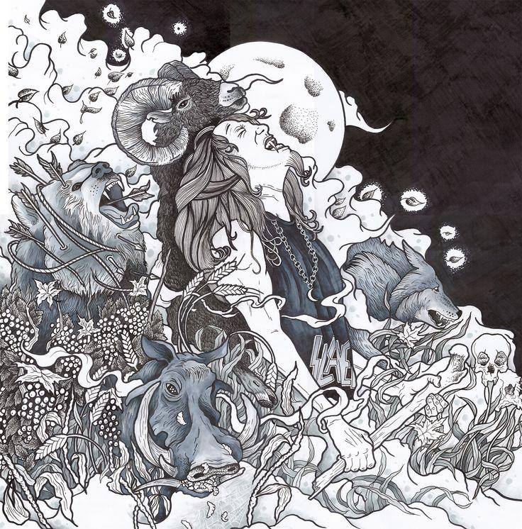 Illustration of Tom Araya (Slayer) and animals by Sasha Foteev