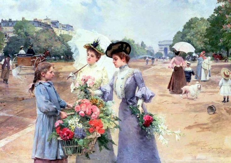 L'avenue du Bois de Boulogne (1902) peint par Louis-Marie de Schryver (1863-1942) (Paris 16ème)