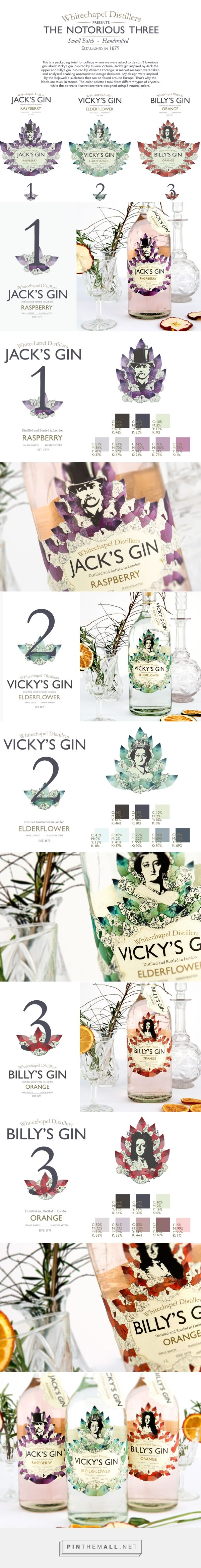 The Notorious Three/Gin Labels on Behance by Mariana de Moura curated by Packaging Diva PD. Great gin college packaging project. Vicky's gin inspired by Queen Victoria, Jack's gin inspired by Jack the ripper and Billy's gin inspired by William D'orange