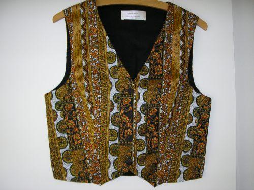 Batik Waistcoat, Orange/Black 10-12