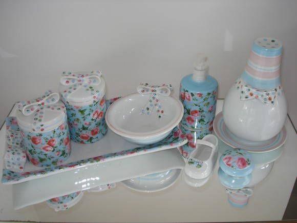 Kit Banheiro Porcelana : Kit higiene porcelana banheiro la?o azul