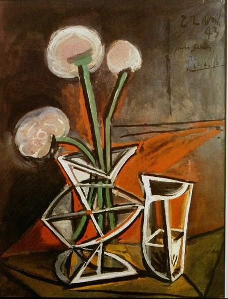 Vase with flowers, 1943 by Pablo Picasso, Neoclassicist & Surrealist Period. Cubism. still life