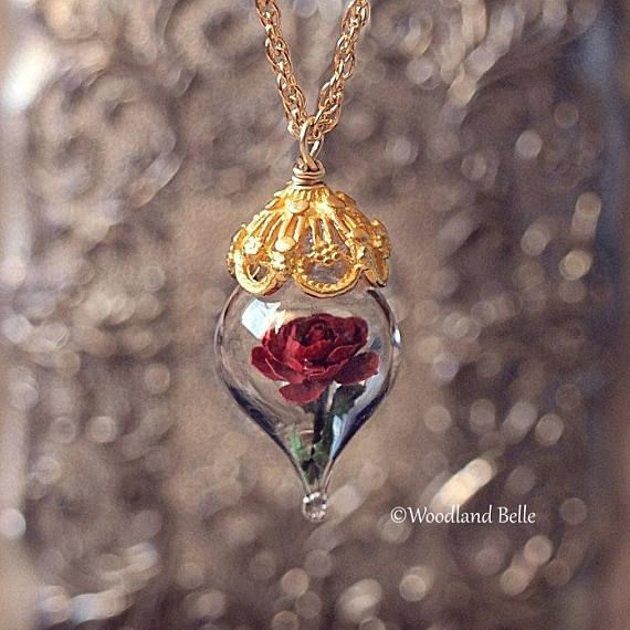 Gold Red Rose Necklace – Personalized Option – Glass Flower Terrarium – Beauty and the Beast – Gift for Wife, Girlfriend – by Woodland Belle