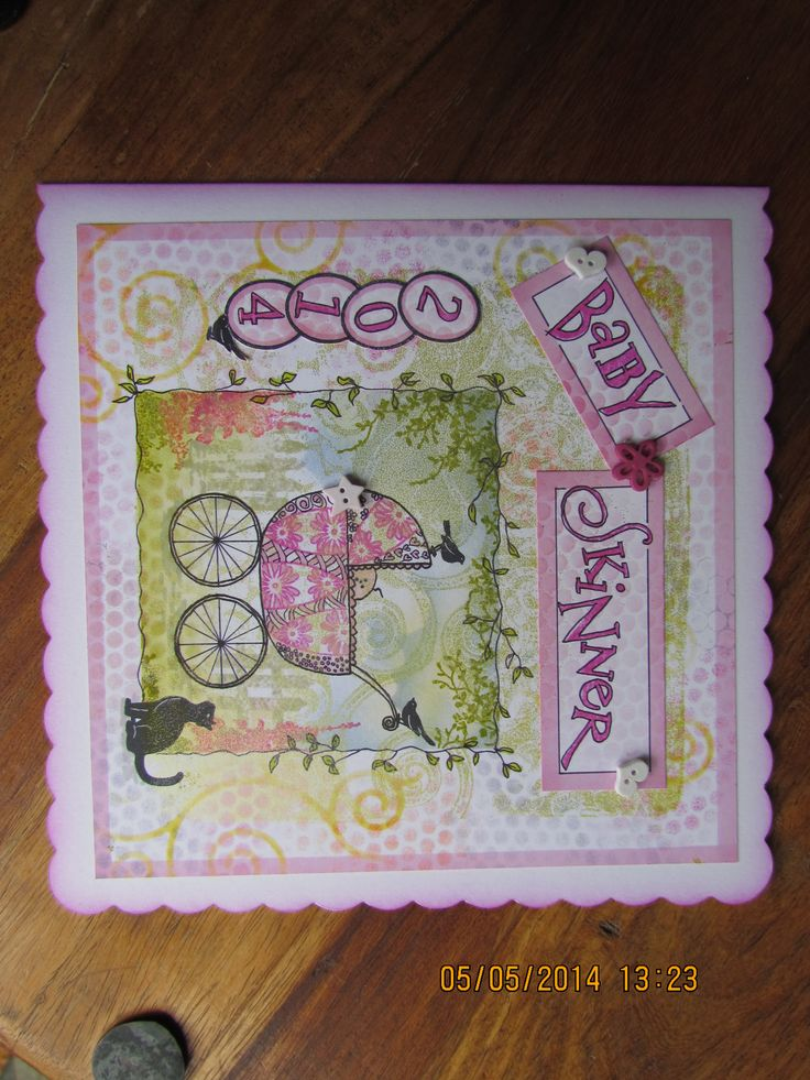 Baby Girl card made for a friend using Clarity stamps & stencils