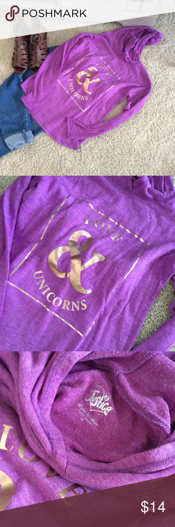 "Love and unicorns hoodie Purple hoodie ""love and unicorns"" Justice Shirts & Tops Sweatshirts & Hoodies"