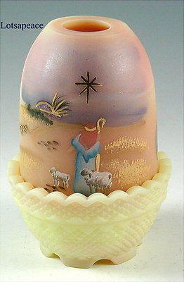 Fenton SILENT NIGHT on BURMESE Fairy Light Lamp 2010 Christmas Design Shepherd